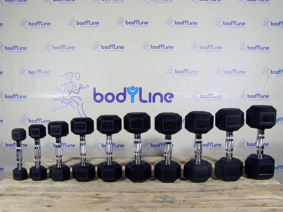BodyLine Hex rubber dumbbells